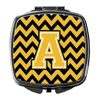 Carolines Treasures  CJ1053-ASCM Letter A Chevron Black and Gold Compact Mirror