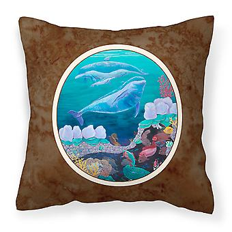 Dolphin Familty Swimming Fabric Decorative Pillow