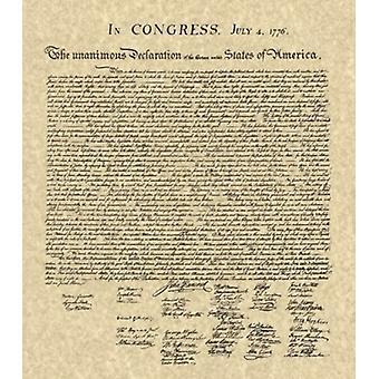 Declaration of Independence Khaki Poster Print (14 x 16)