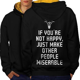 Not Happy Sarcasm Funny Men Black (Gold Hood)Contrast Hoodie Back | Wellcoda