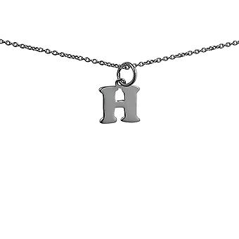 Silver 11x12mm plain Initial H Pendant with rolo Chain 14 inches Only Suitable for Children