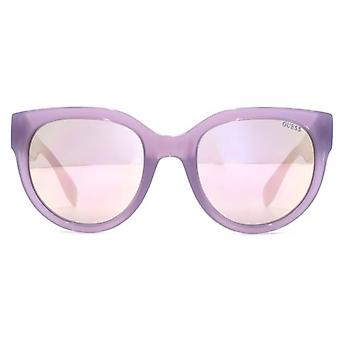 Guess Triangle Logo Cateye Sunglasses In Shiny Lilac