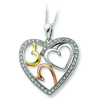 Accent Yellow Rose gold-plating Heart Necklace - 6.0 Grams - 18 Inch