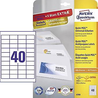 Avery-Zweckform 4780 Labels (A4) 48.5 x 25.4 mm Paper White 1200 pc(s) Permanent All-purpose labels Inkjet, Laser, Copie