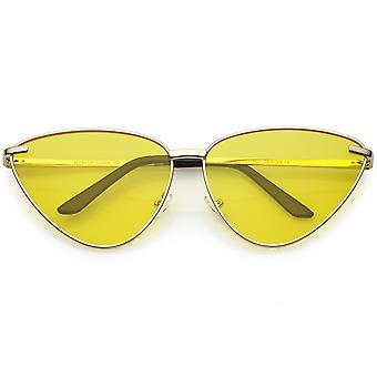 Oversize Cat Eye Sunglasses Thin Metal Frame Color Tinted Flat Lens 64mm