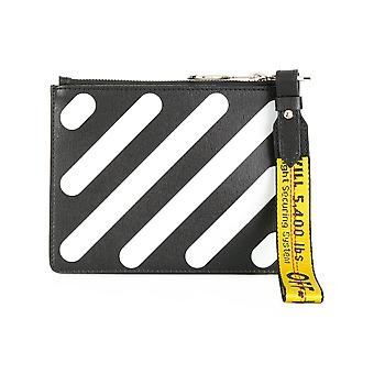 Off-white women's OWNA048S184231681001 white/black leather clutch