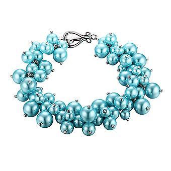 Bracelet Multi beads blue sky and Rhodium plate