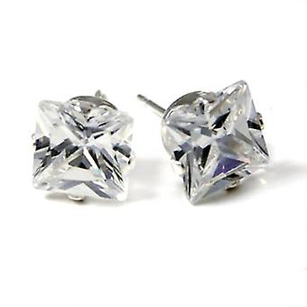 925 sterling silver iced out bling earrings - rectangular
