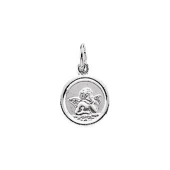 14k White Gold Round Angel Pendant Medal 14.25 - 1.5 Grams