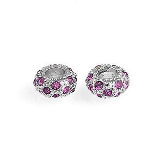 10 x Silver/Fuchsia Rhodium Plated Alloy 6 x 11mm Large Hole Beads GS17805