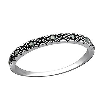 Oxidized - 925 Sterling Silver Jewelled Rings