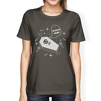 Morto dentro do caixão Halloween engraçado Tshirts para gráfico camisas das mulheres