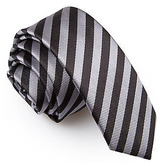 Schwarz & grau dünnen Streifen schmaler Krawatte