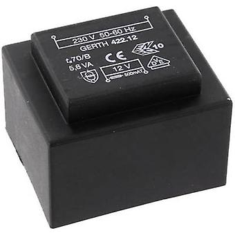 PCB mount transformer 1 x 230 V 1 x 24 V AC 5.60 VA 233 mA PTB422401 Gerth