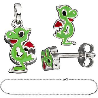 Children jewelry set little dragon 925 silver painted green with chain 38 cm