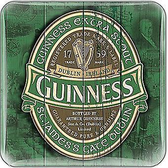 Aimant de réfrigérateur époxy Guinness Label vert 75 X 75 Mm
