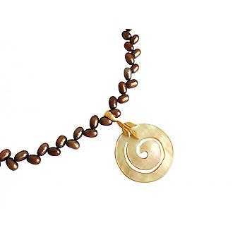 Gemshine - damer - halsband - pärla pendel - medaljong--pärlemor - guldpläterade – brons - grädde - 5 cm
