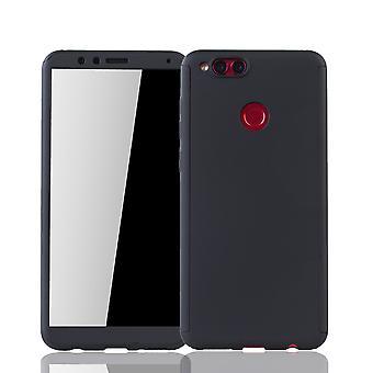 Huawei honor 7 X telefoon beschermende geval volledige gevaldekking van tank bescherming glas, zwart