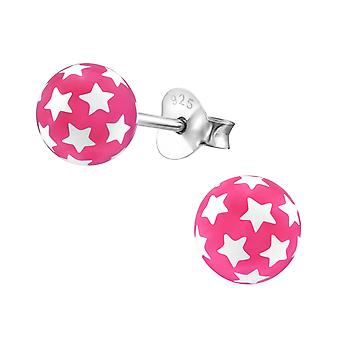 Ball - 925 Sterling Silver + Plastic Colourful Ear Studs - W21976X