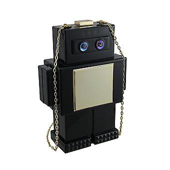 محفظة روبوت الرجعية السوداء والذهب بحزام قابل للإزالة
