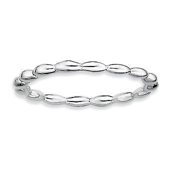 Sterling Zilver gepolijst gedessineerde Rhodium-plated stapelbare expressies Rhodium rijst kraal Ring - Ringmaat: 5 tot 10