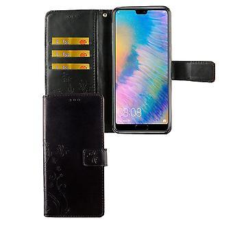 Huawei P20 Handy-Hülle Schutz-Tasche Cover Flip-Case Kartenfach Schwarz