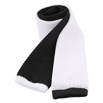 David Van Hagen Two Tone Knitted Thin Tie - Black/White