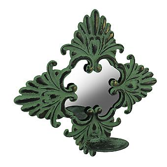 Verdigris Patina Metal Leaf Mirrored Candle Sconce