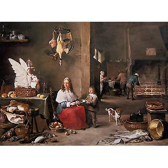 Escena de cocina, David TENIERS el joven, 75 x 77,8 cm