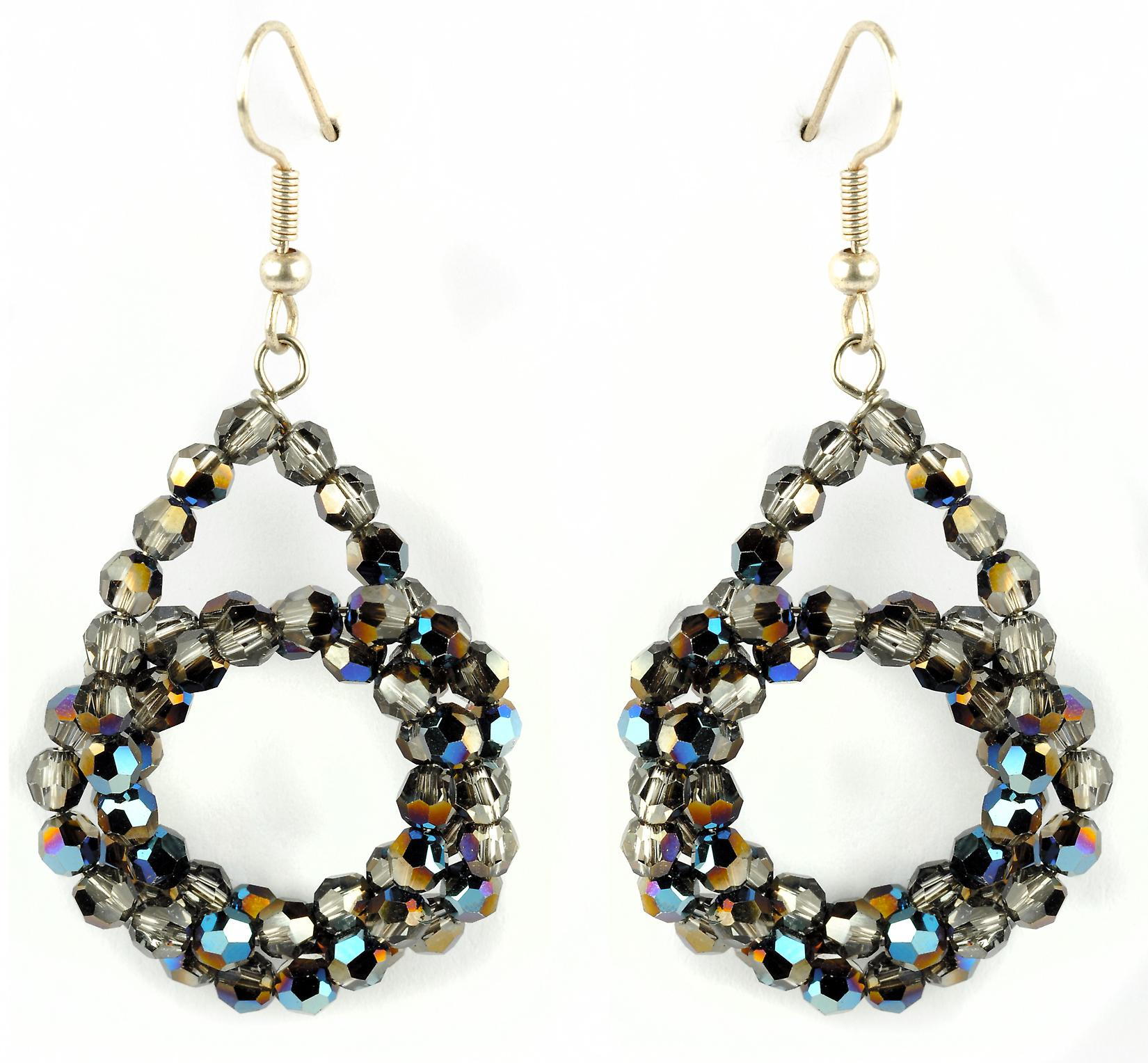 Waooh - Fashion Jewellery - WJ0746 - On Earrings with Swarovski Strass Silver Iridium - Frame Color Silver