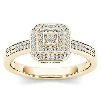 IGI certifié 10 k diamant jaune or Ct 0,15 Halo Style Vintage bague de fiançailles