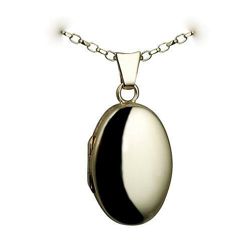 9ct Gold 22x15mm plain oval Locket with a belcher chain