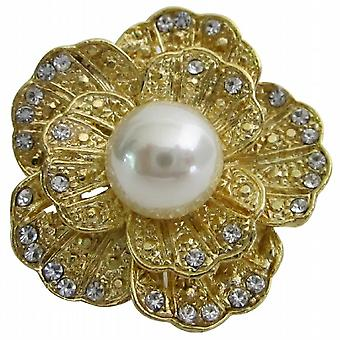Gold Round Rose Decorated Cubic Zircon Sparkling Dress Brooch