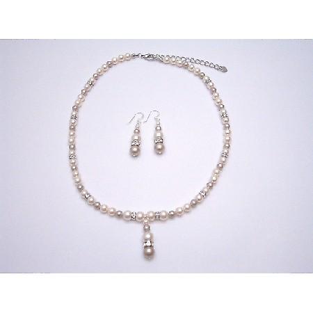 Bridal Handmade Bridesmaid Jewelry Ivory Champagne Swarovski Pearls