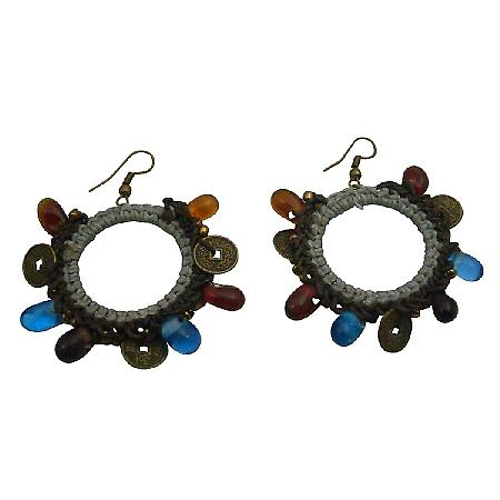Adorable Affordable Hand Knitted Gray Crochet Circle Shaped Earrings