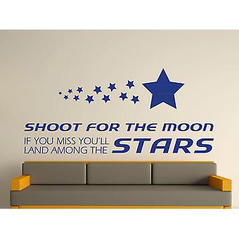 Shoot For The Moon Wall Art Sticker - Azure
