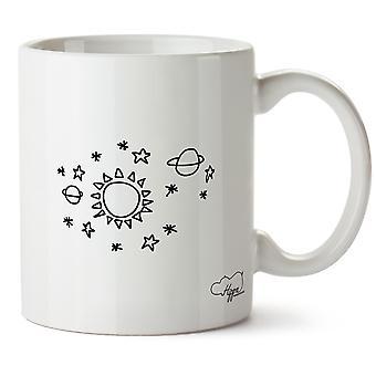 Hippowarehouse estrela sol espaço padrão impresso caneca copo cerâmico 10oz