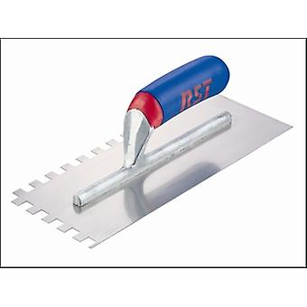 R.S.T. Notched Trowel Square 10 x 10mm Soft Grip Handle 11in x 4.1/2in