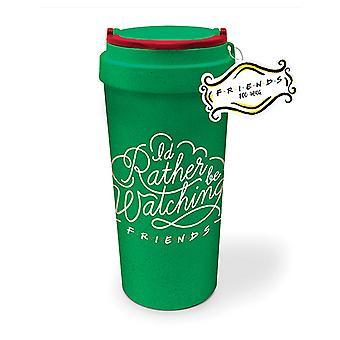 Friends eco travel mug Central Perk coffee-to-go cups green, printed, organic plastic.