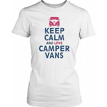 Keep Calm and Love Camper Vans Ladies T Shirt