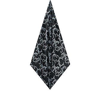 Dobell Mens Schwarz/Silber Taschentuch Edwardian Wirbel Jacquard