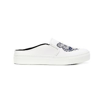 Kenzo White Cotton Slip On Sneakers