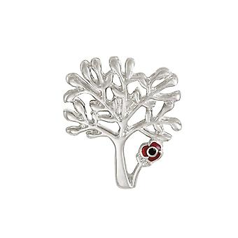 Eternal Collection Tree With Red Enamel Poppy Silver Tone Lapel Pin