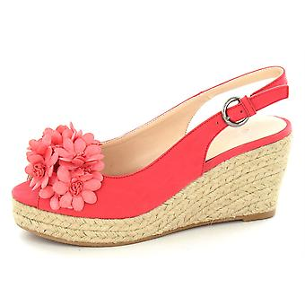 Spot On Mid Wedge Peeptoe Espadrille with Flowers F2135