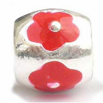 TOC BEADZ rote Blume 10mm Emaille Folie Single Sign-on & Bead
