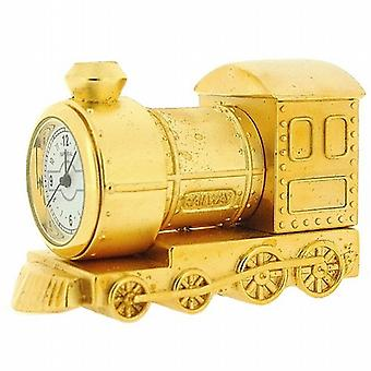 Miniature Gold Plated Metal Steam Engine Train Novelty Collectors Clock IMP79
