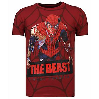 The Beast Spider-Rhinestone T-shirt-Burgundy