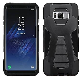 ASMYNA Black Inverse Advanced Armor Stand Protector Cover for Galaxy S8 Plus