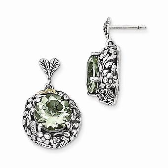 925 Sterling Silver With 14k Green Quartz Post Dangle Earrings - 8.70 cwt