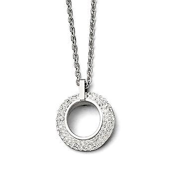 Edelstahl poliert Weiß emailliert mit Crystals Halskette - 18 Zoll